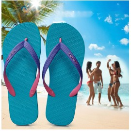 image of Hotmarzz Men Stylish Summer Beach Slippers  Flip Flops Flat Sandals (Sky Blue Base)