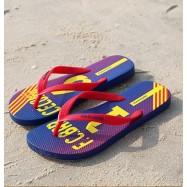 image of Hotmarzz Men Stylish Summer Beach Slippers  Flip Flops Football Series (Red)