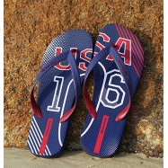 image of Hotmarzz Men Stylish Summer Beach Slippers  Flip Flops Football Series (Blue)