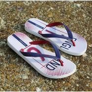image of Hotmarzz Men Stylish Summer Beach Slippers  Flip Flops Football Series (White)
