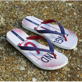 image of Hotmarzz Men Stylish Summer Beach Slippers  Flip Flops Football Series (White)