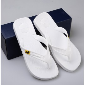 image of Hotmarzz Men Flip Flops Beach Flat Designer Slippers (White)