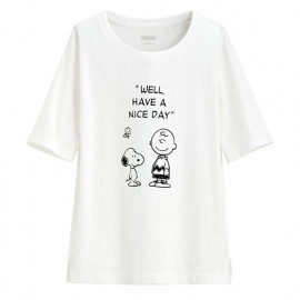 image of Lativ : 史努比竹節棉寬版T恤-18-女