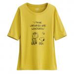 Lativ : 史努比竹節棉寬版T恤-19-女