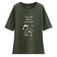 image of Lativ : 史努比竹節棉寬版T恤-21-女