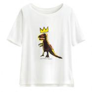 image of Lativ : Jean-Michel Basquiat輕柔短版印花T恤-08-女