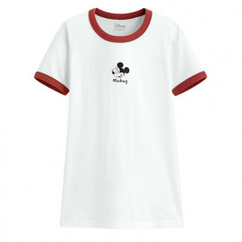 image of Lativ : 迪士尼系列羅紋配色印花T恤-09-女