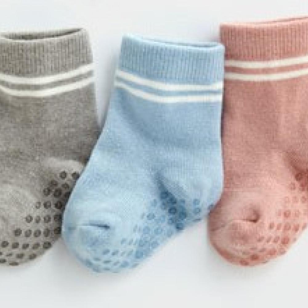 Lativ : 羅紋配條中筒襪(3入)-Baby