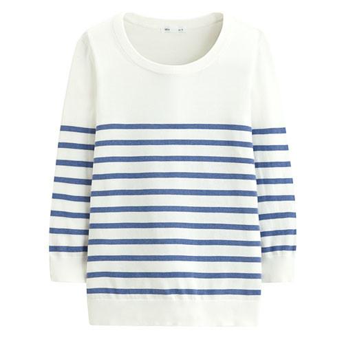 image of Lativ : Pima 棉抗UV條紋七分袖針織衫-女( 麻花藍條 )