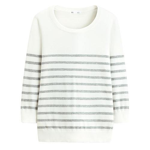 Lativ : Pima 棉抗UV條紋七分袖針織衫-女( 麻花灰條)