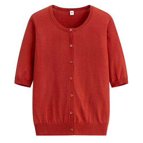 image of Lativ: 輕型短袖針織外套-女( 橘紅)