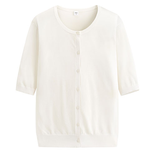 image of Lativ: 輕型短袖針織外套-女( 白色)