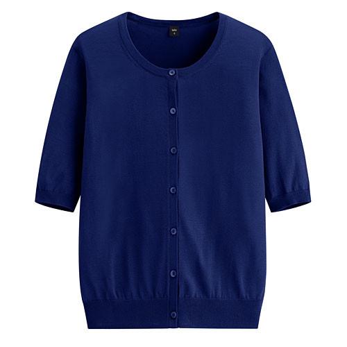 image of Lativ: 輕型短袖針織外套-女( 寶藍)