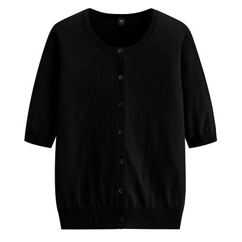 image of Lativ: 輕型短袖針織外套-女( 黑色)