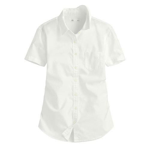 Lativ:牛津短袖襯衫-女( 白色)