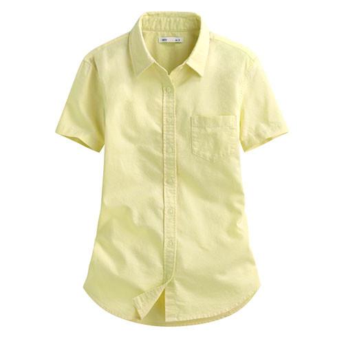 Lativ:牛津短袖襯衫-女( 淺黃)