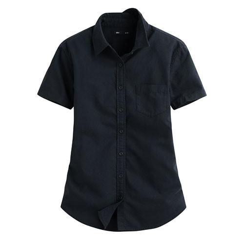 Lativ:牛津短袖襯衫-女( 藏青)