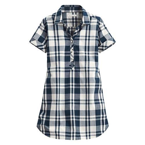 image of Lativ: 格紋長版短袖衫-女( 復古藍白格)