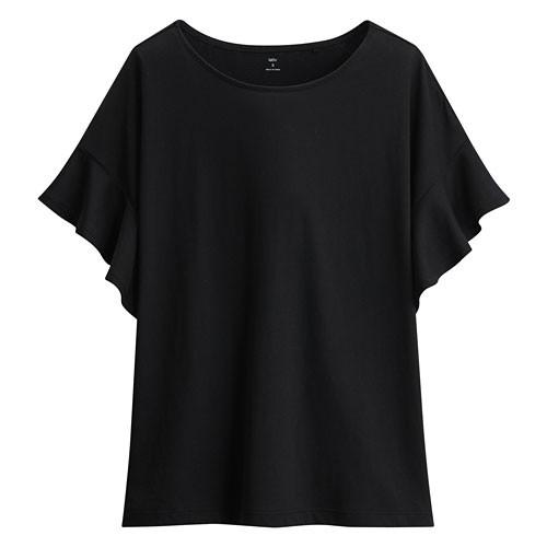 image of Lativ: 輕柔荷葉袖短袖衫-女( 黑色)