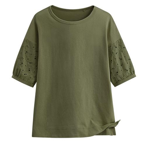 Lativ: 蕾絲五分袖上衣-女( 軍綠)