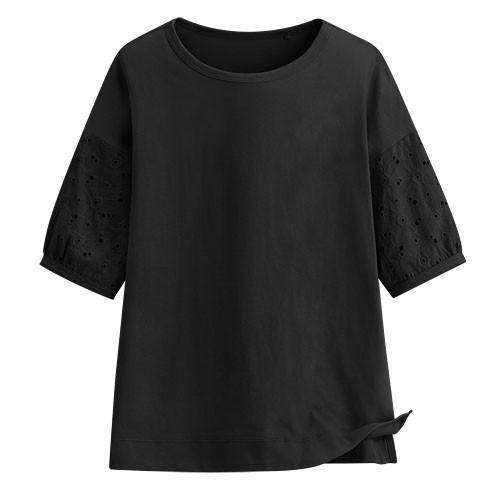 Lativ:蕾絲五分袖上衣-女( 黑色)