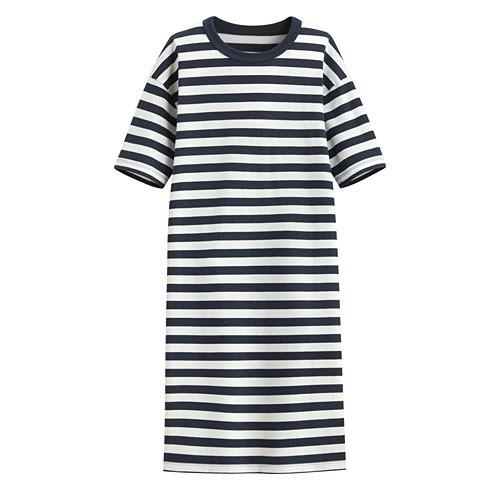 Lativ:厚紡寬版條紋洋裝-女( 藏青條)