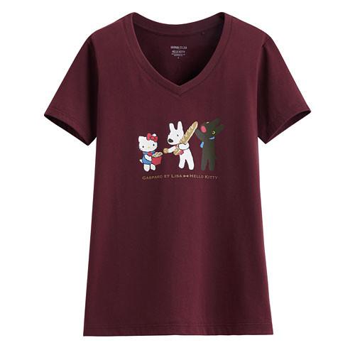 Lativ: Hello Kitty X麗莎和卡斯柏印花V領T恤-02-女( 酒紅)