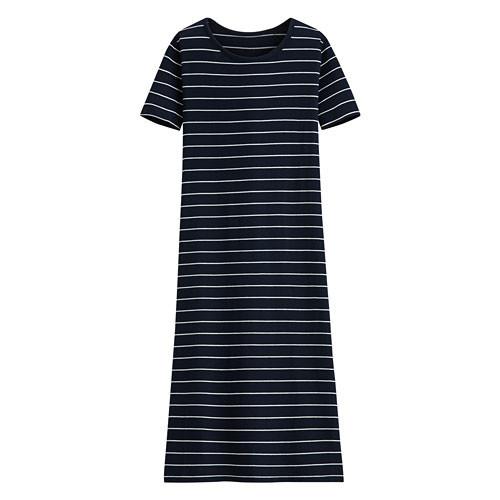 Lativ: 輕柔條紋洋裝-女( 藏青白條)