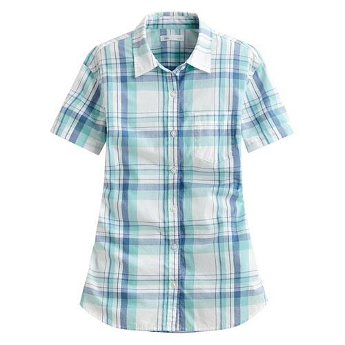 image of Lativ: 經典格紋短袖襯衫-女( 水綠藍格)
