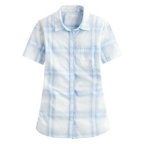 image of Lativ: 經典格紋短袖襯衫-女( 粉藍白格)