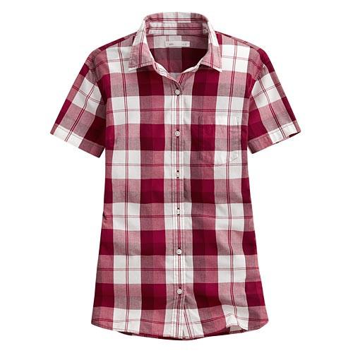 image of Lativ: 經典格紋短袖襯衫-女( 復古紅白格)
