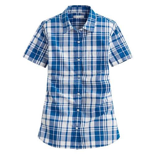 image of Lativ: 經典格紋短袖襯衫-女( 藍白格)