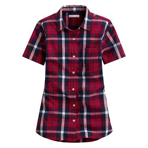 image of Lativ: 經典格紋短袖襯衫-女( 紅深藍格)
