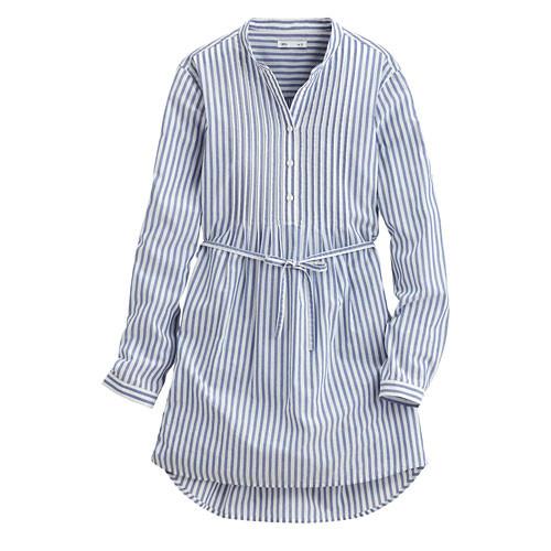 Lativ: 立領細褶長版襯衫-女( 藍白條)