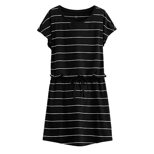 Lativ: 純棉綁帶條紋洋裝-女( 黑色)