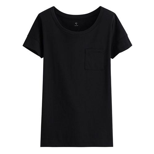 image of Lativ: 輕柔口袋短袖衫-女( 黑色)