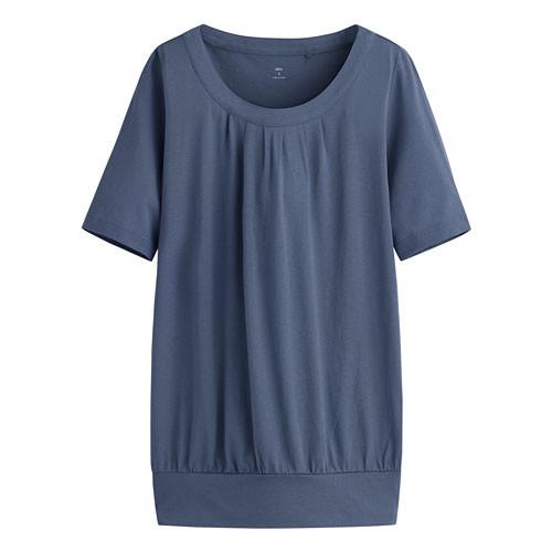 image of Lativ: 輕柔花式短袖衫-女( 藍色)