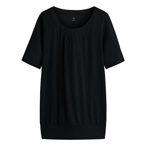 image of Lativ: 輕柔花式短袖衫-女( 黑色)