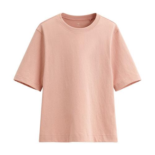Lativ:純棉寬鬆短版T恤-女( 粉桔)