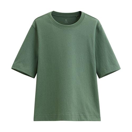 image of Lativ: 純棉寬鬆短版T恤-女( 綠色)