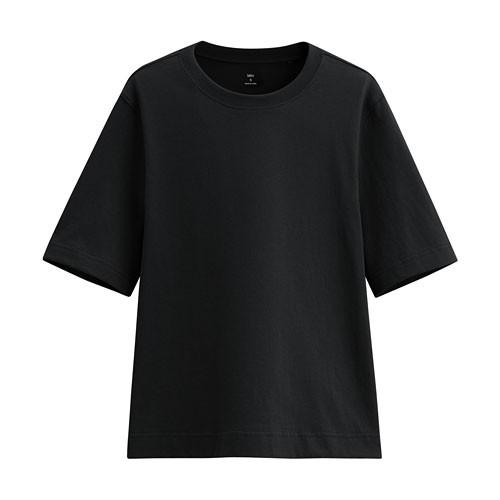 image of Lativ:純棉寬鬆短版T恤-女( 黑色)