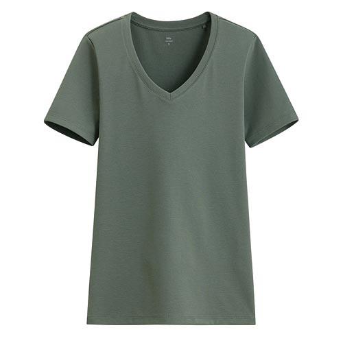 Lativ :Pima 棉羅紋V領T恤-女( 灰綠)