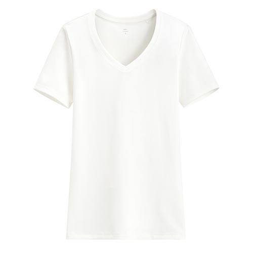 image of Lativ :Pima 棉羅紋V領T恤-女( 白色)