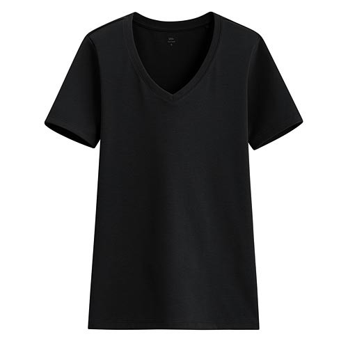 image of Lativ :Pima 棉羅紋V領T恤-女( 黑色)