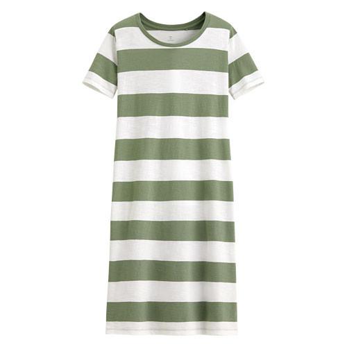 image of Lativ :竹節棉口袋寬版洋裝-女( 綠白條)