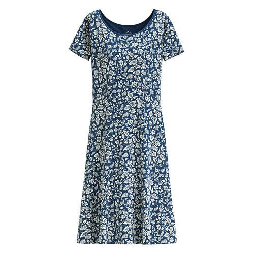 image of Lativ :Hallmark Bra莫代爾印花短袖洋裝-女( 深藍)