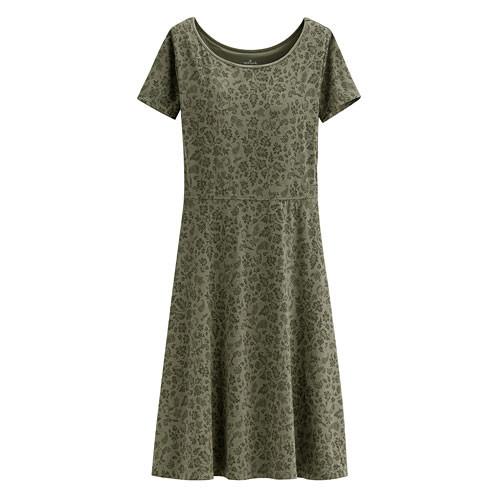 image of Lativ :Hallmark Bra莫代爾印花短袖洋裝-女( 灰橄綠)