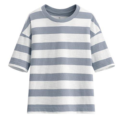 image of Lativ :竹節棉條紋寬版圓領T恤-女( 灰藍條)