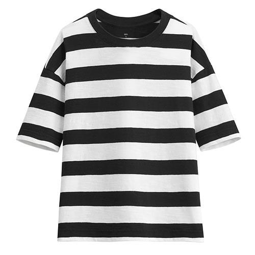 image of Lativ :竹節棉條紋寬版圓領T恤-女( 黑色條)