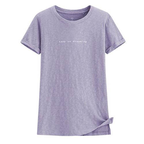 image of Lativ :竹節棉文字短袖T恤-女( 灰紫)